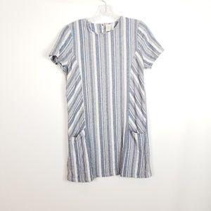 Paper Crane Blue Gray Striped Linen Shift Dress L